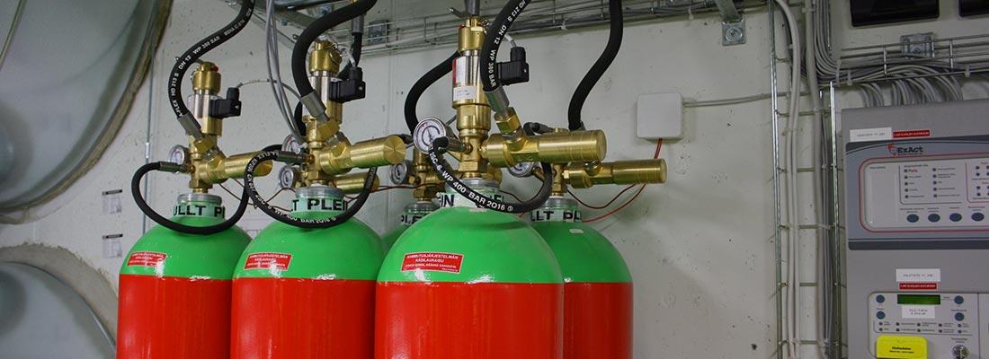 Argon-kaasusammutusjärjestelmä.